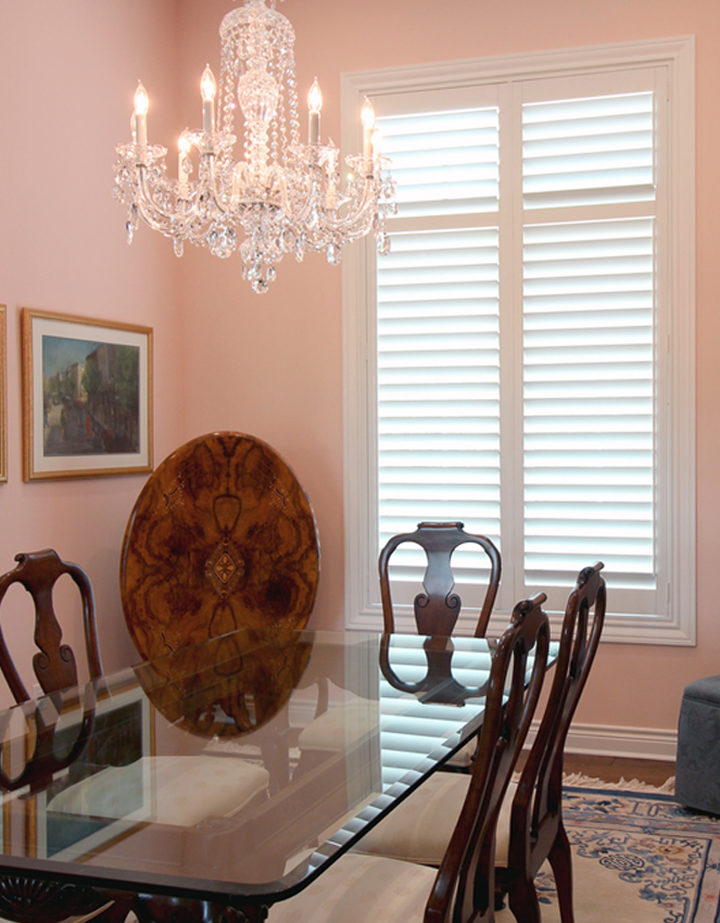 pink dining room white plantation shutters Austin 78758