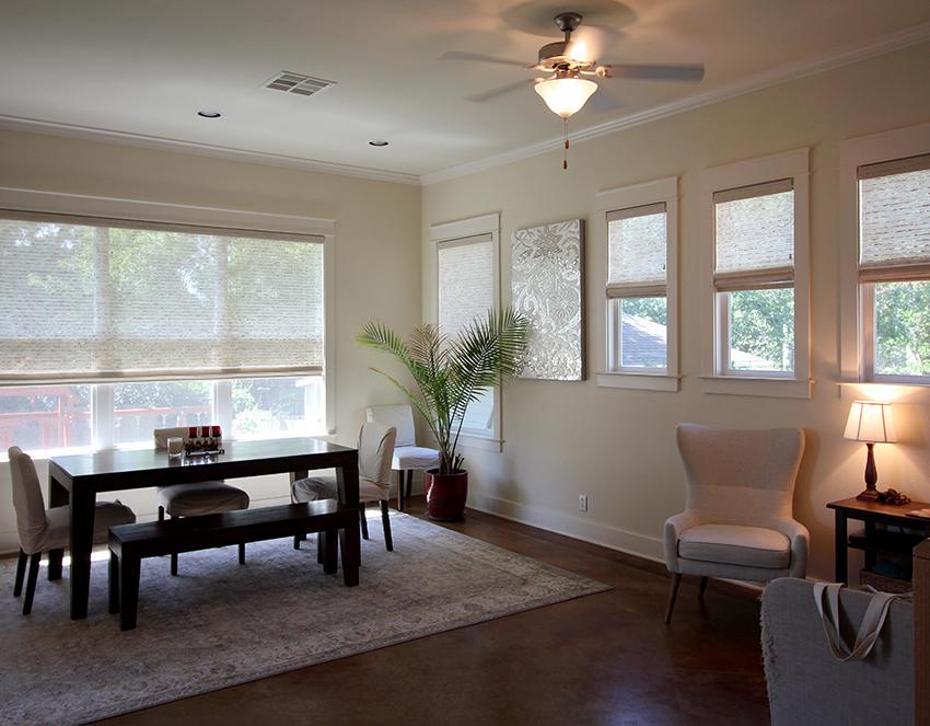 dining room hunter douglas provenance woven shades on large window Austin 78758