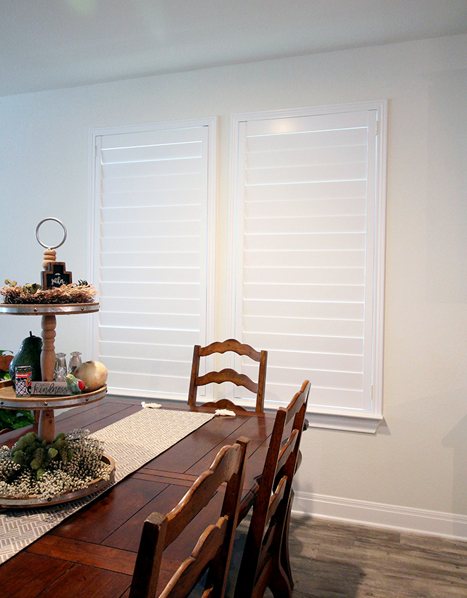 dining room plantation shutters closed in Austin home