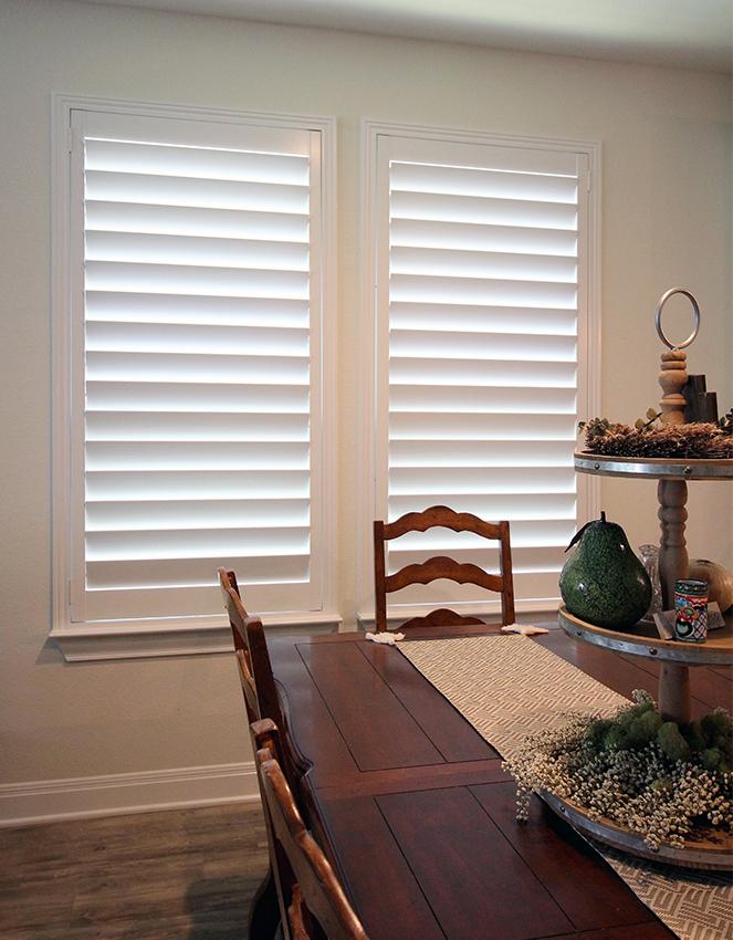 dining room hardwood plantation shutters Austin 78731