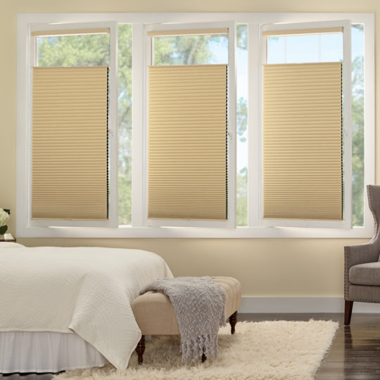bedroom turn and tilt Hunter Douglas duette honeycomb track glide shades Cedar Park 78613