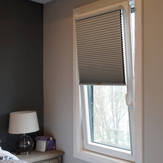 bedroom turn and tilt Hunter Douglas duette honeycomb track glide shades Austin 78731