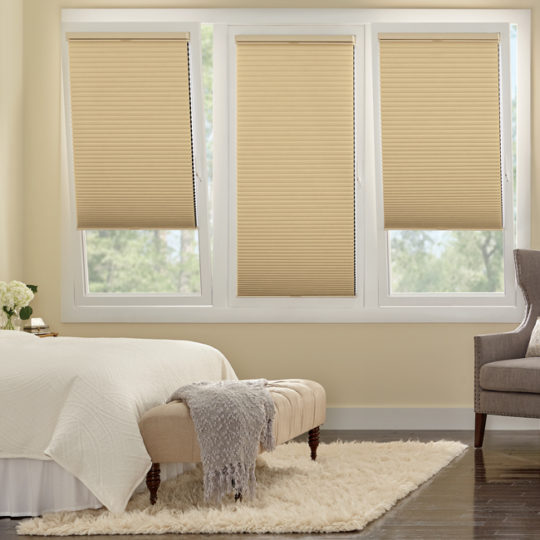 bedroom turn and tilt Hunter Douglas duette honeycomb track glide shades Austin 78738