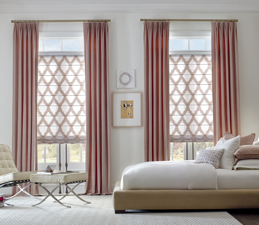 custom roman shades with pink drapery panels gold hardware Austin TX