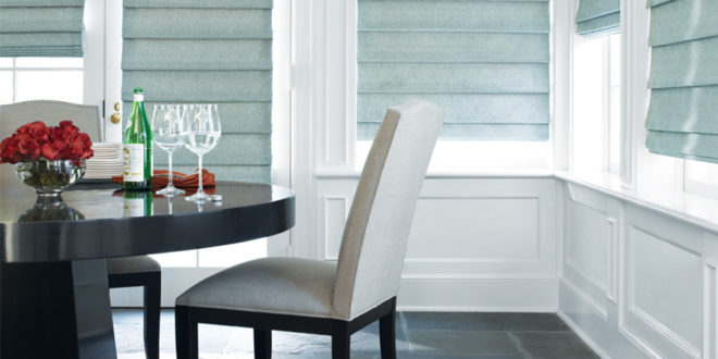 dining room blue vignette roman shades new year