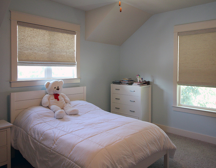 childs bedroom Austin TX with child safe woven wood shades