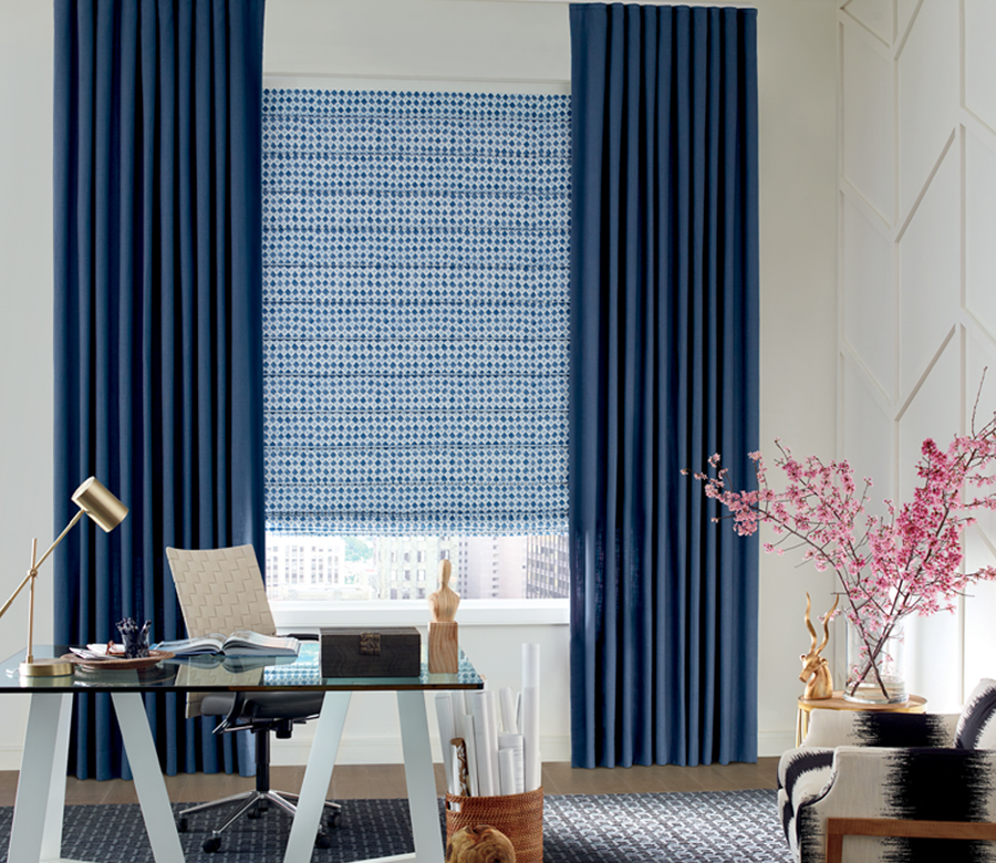 blue and white dotted roman shades with ceiling height drapes Austin TX