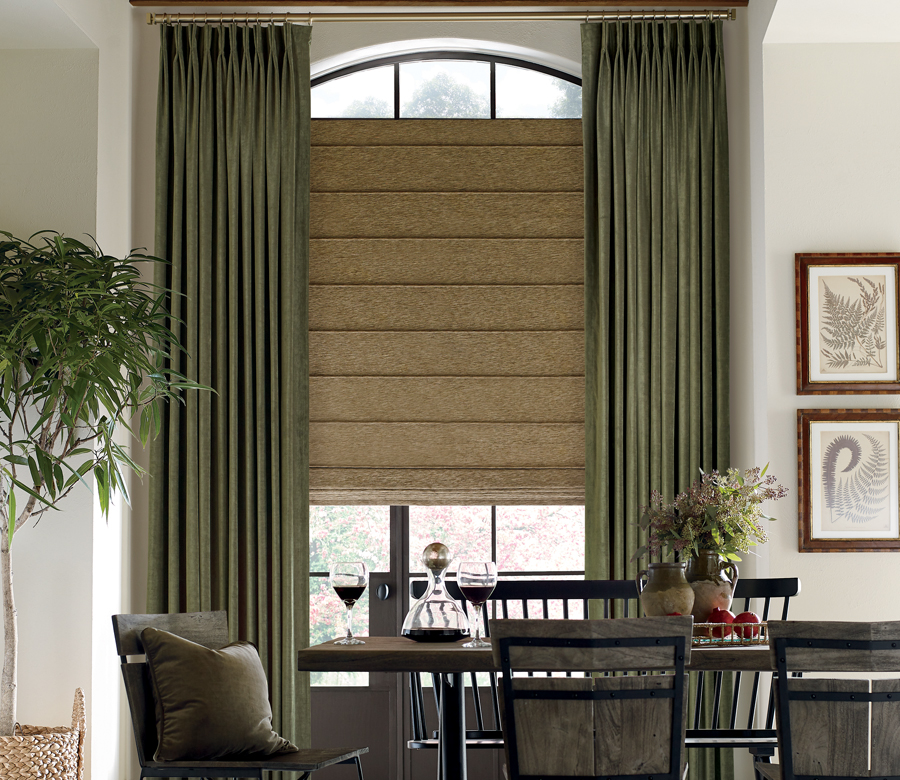 dining room with floor to ceiling draperies pinched pleat custom roman shades Austin TX