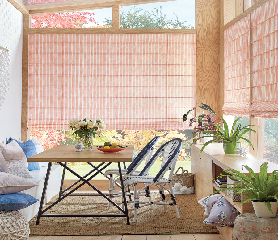 coral and white striped roman shades Austin TX