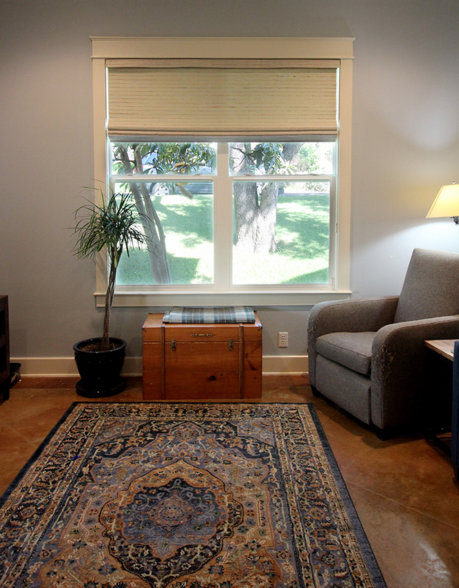 woven wood shades open in living room Austin TX