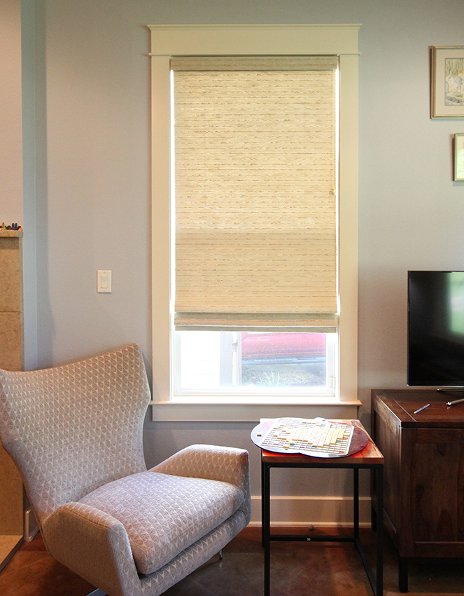 woven wood shades in cozy Austin TX living room