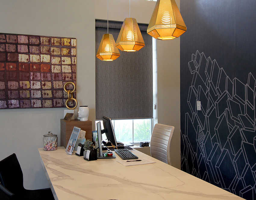 custom roller shade in contemporary home office window Austin TX