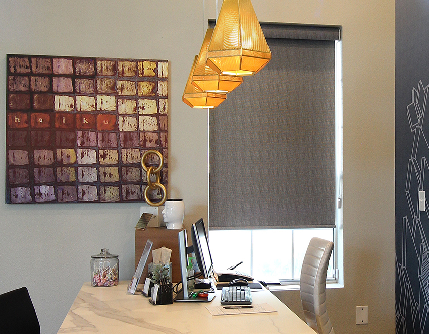 home office with gray roller shade Austin TX