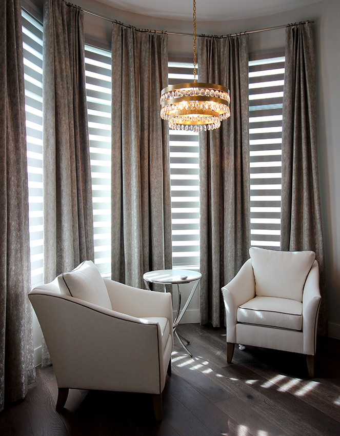 seating area with layered shades custom curtains Austin TX