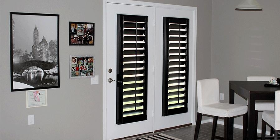 the color black in home decor plantation shutters Austin TX