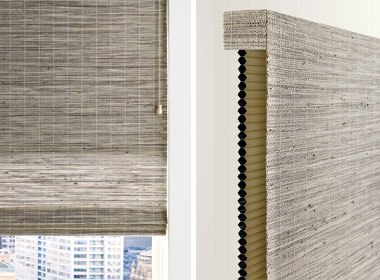 woven woods shade with dual cellular shade Austin, TX