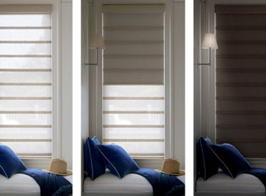 dual shades for roman shades in Austin, TX home three stages of the same window