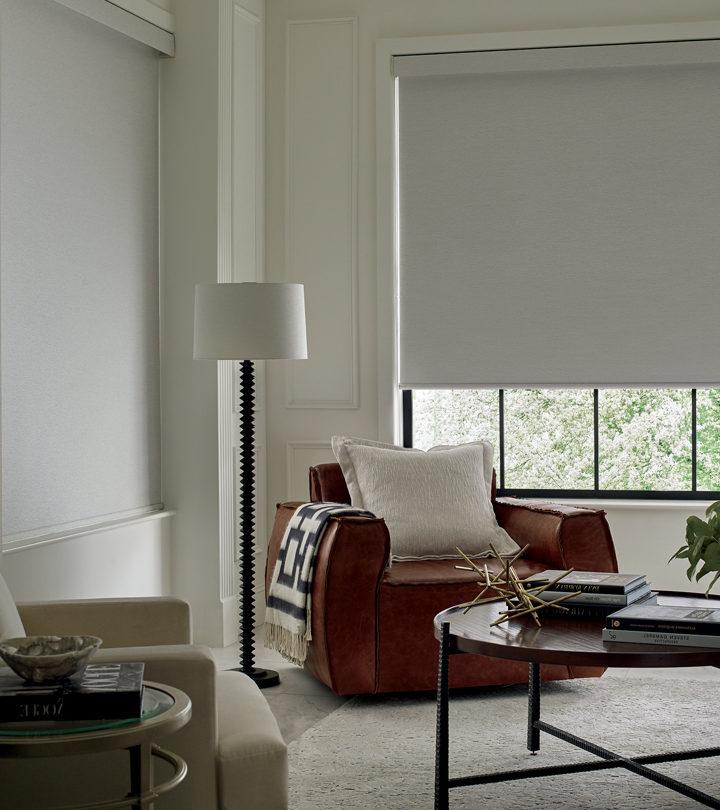 roller shades for room darkening in Austin, TX living room