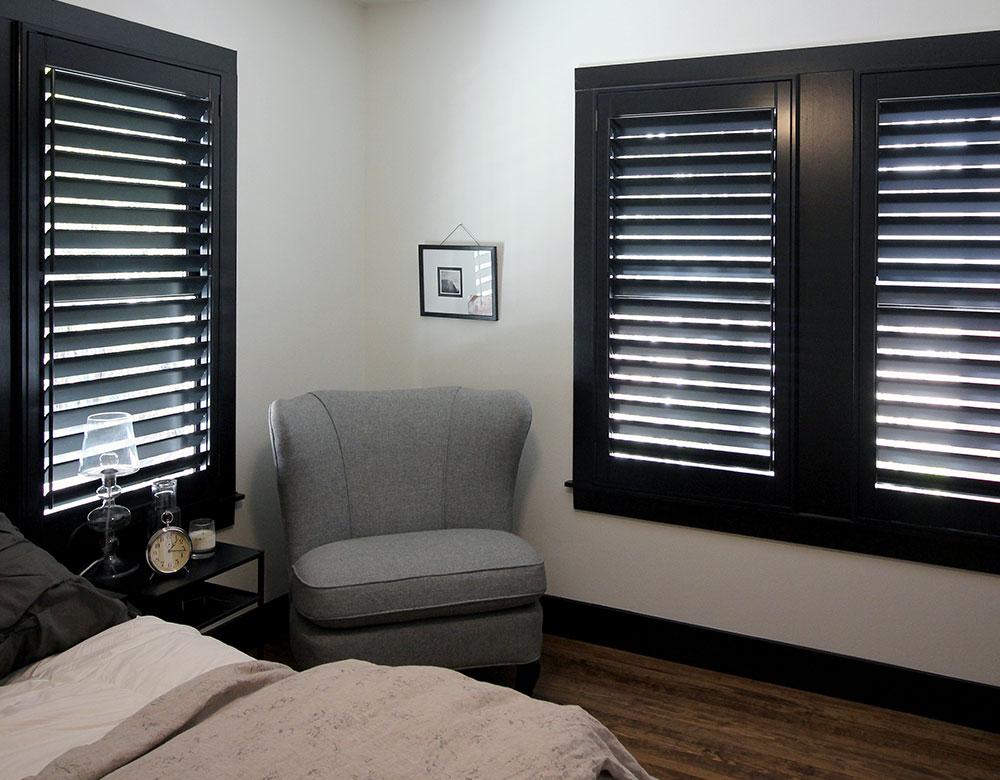 black shutters in Austin TX bedroom