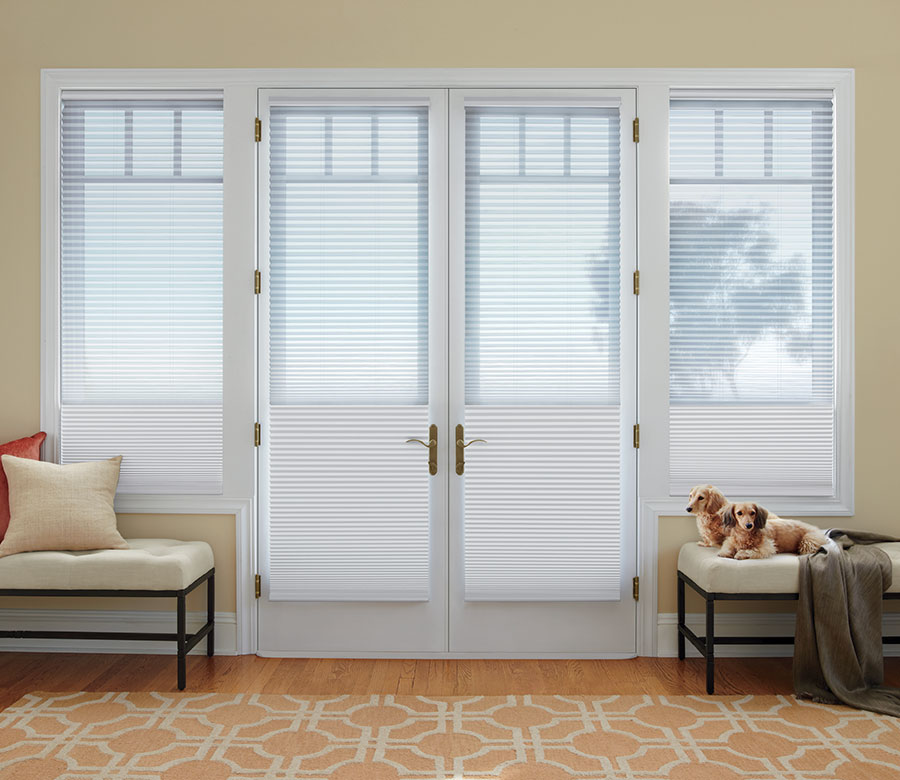 honeycomb shades on french doors with dual light control