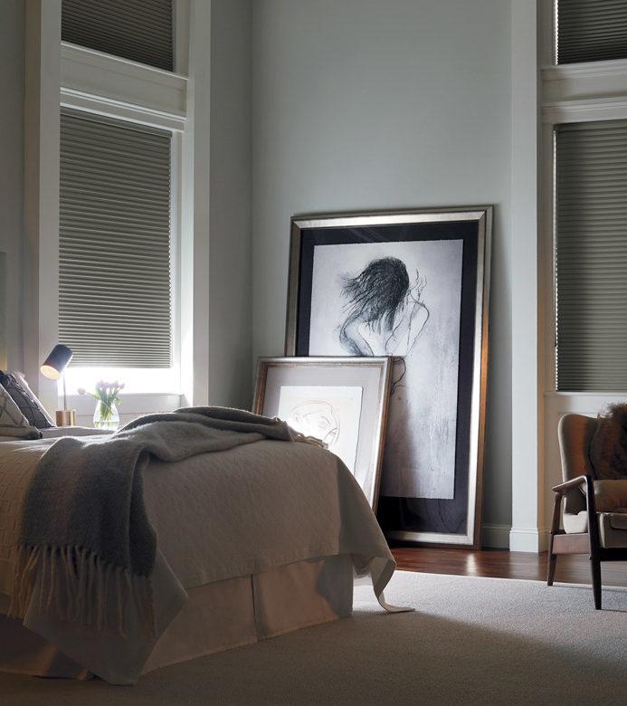 soft gray honeycomb shades room darkening blinds in Austin TX