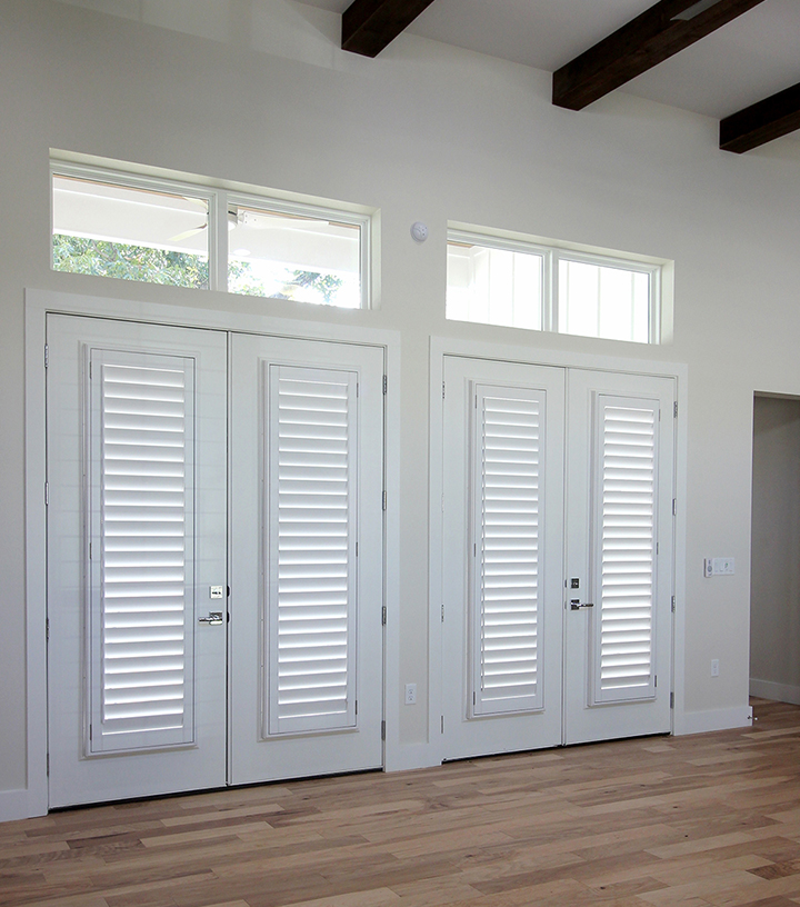 cover glass doors with french door shutters in Austin, TX home