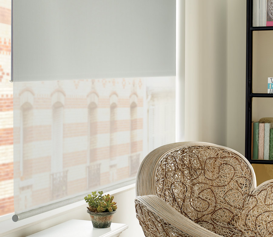 close up of gray roller shades in downtown Austin TX