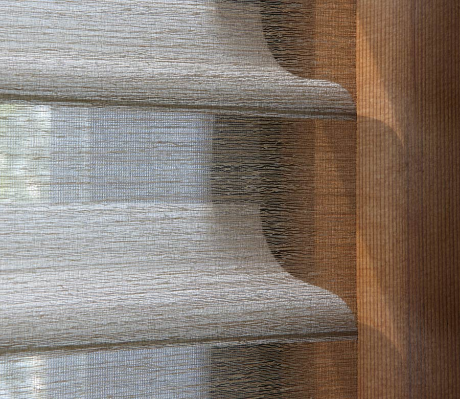 close up of fabric shades in austin tx