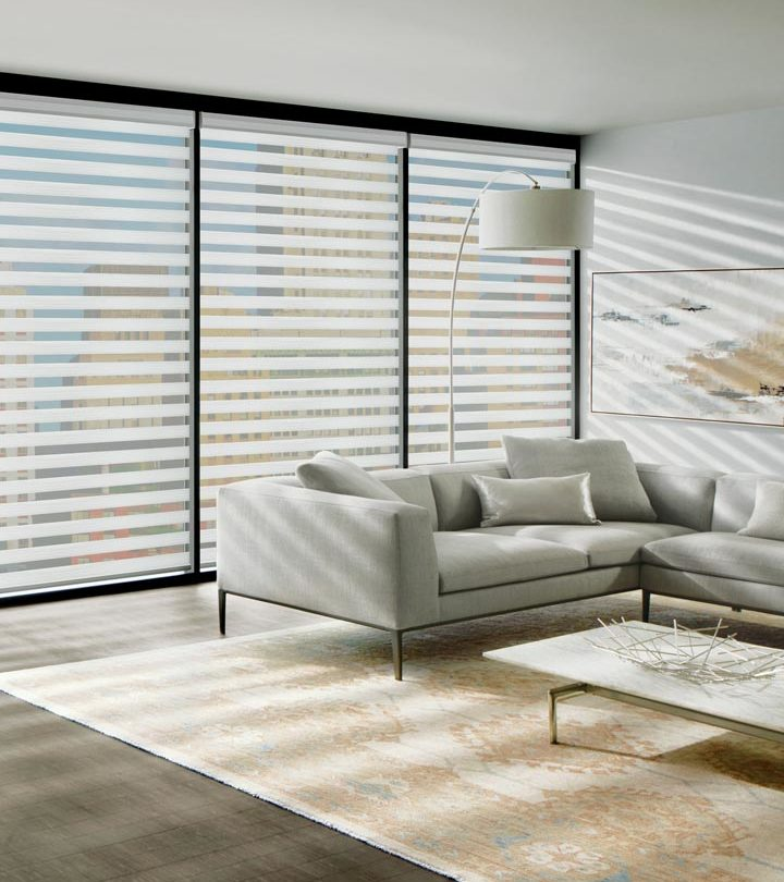 sheer roller shades for floor to ceiling window treatments in downtown Austin TX condo