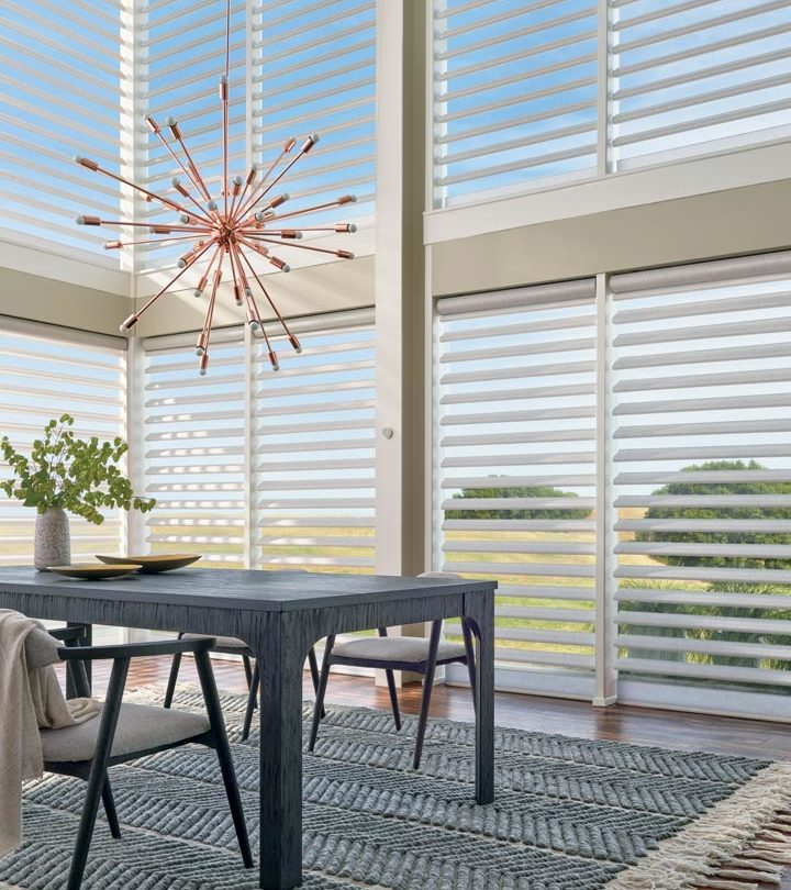 hard to reach windows with floor to ceiling blinds in Austin TX home