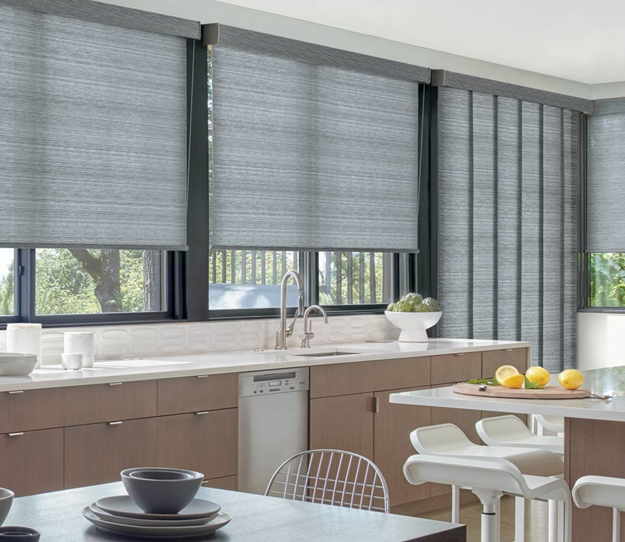 gliding window panels with matching roller shades in Austin TX