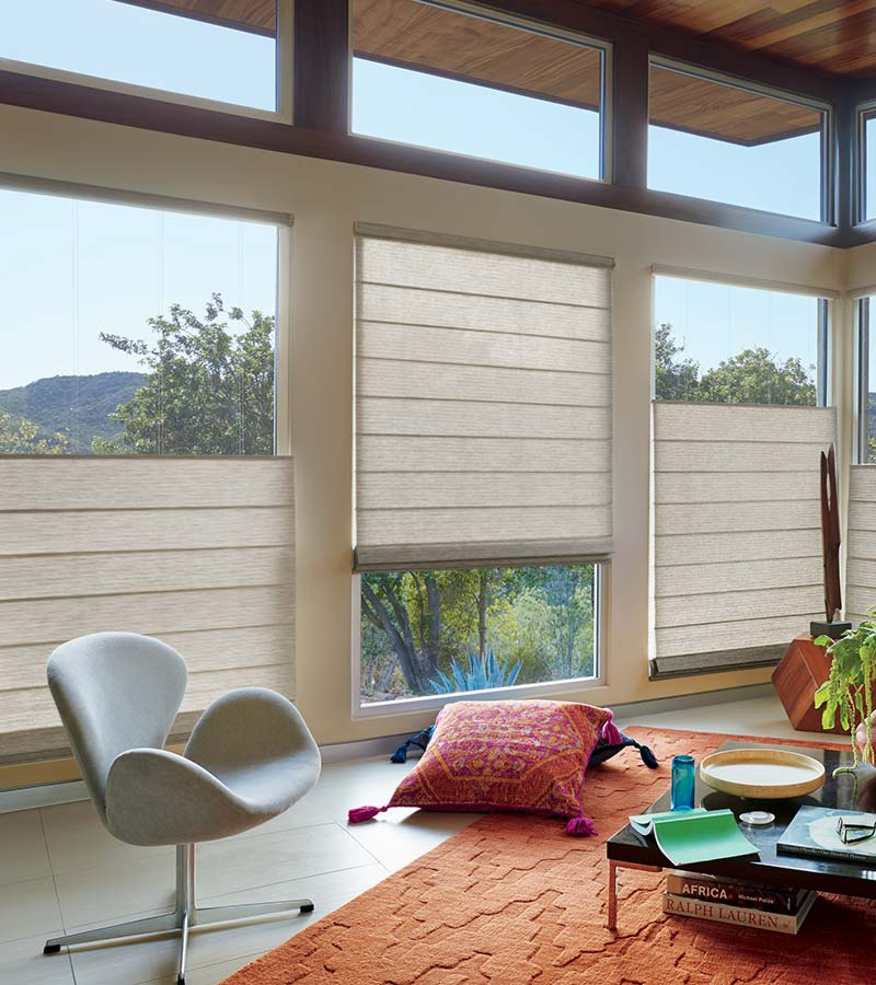 floor to ceiling windows with roman shades that lower from the top in Leander TX