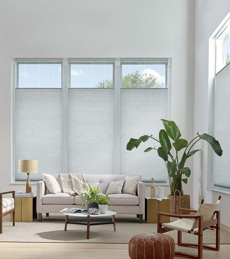 living room with top down shades on tall windows in Austin TX