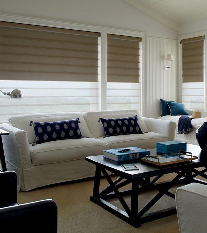 dual roman shades on living room windows in Austin TX