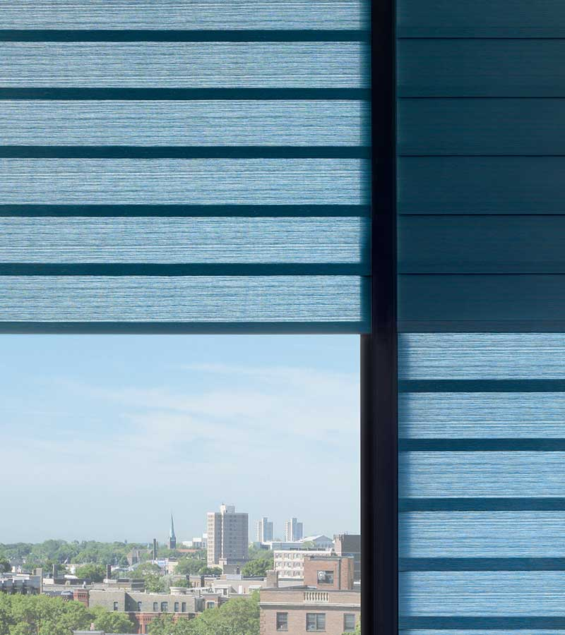 detail of blue dual opacity shades in austin tx apartment