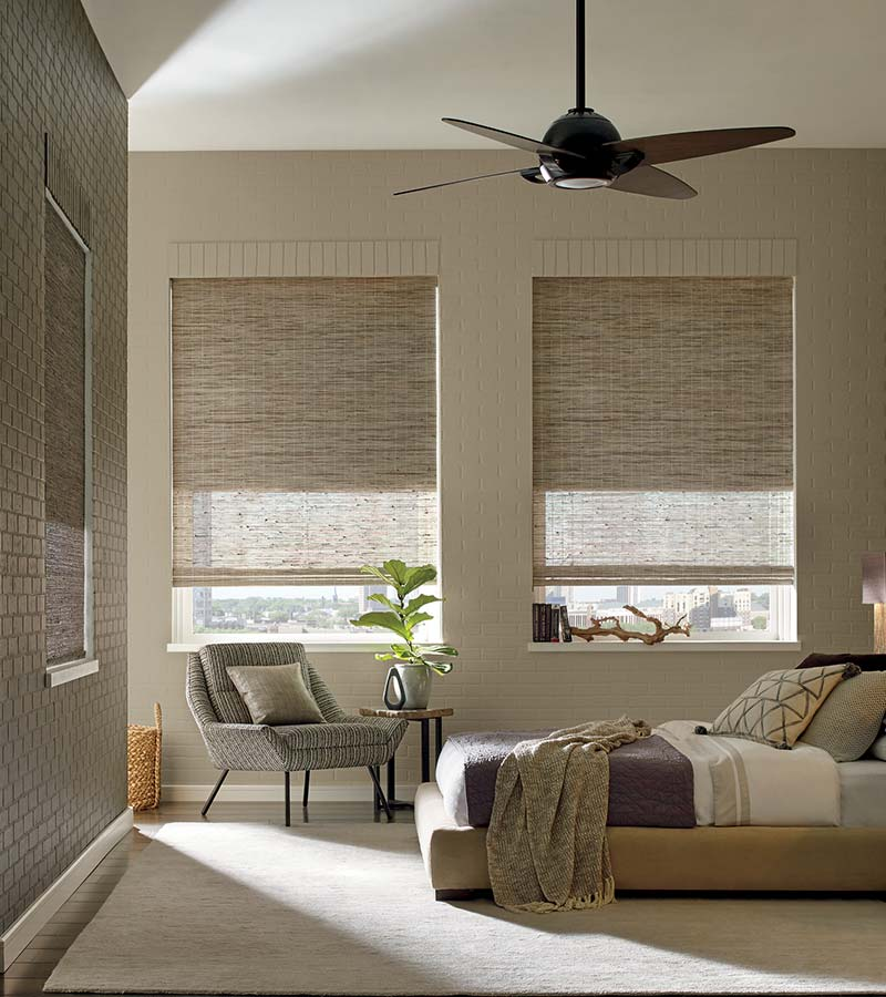beige bedroom in Austin 78738 with woven wood shades