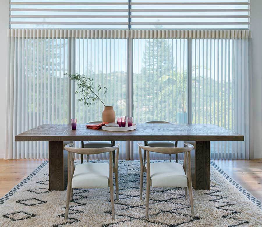 Modern dining room with floor to ceiling privacy sheers in the Austin 78738