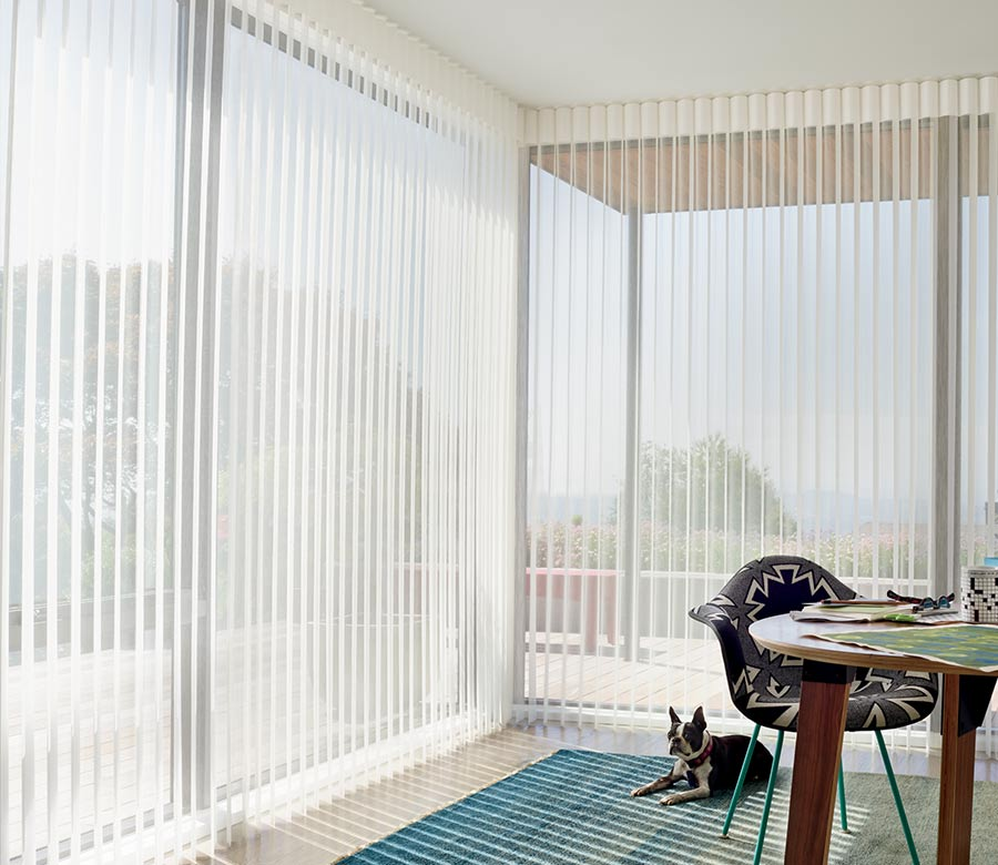open vertical privacy sheers in Austin home office