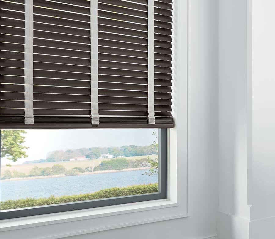 brown wood blinds overlooking texas river